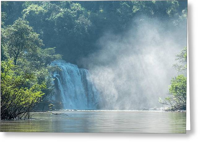 Waterfall, Sunlight And Mist Greeting Card