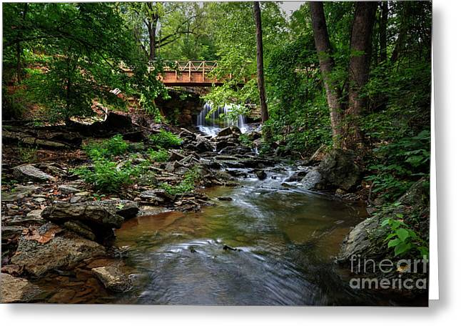 Greeting Card featuring the photograph Waterfall With Wooden Bridge by Joe Sparks