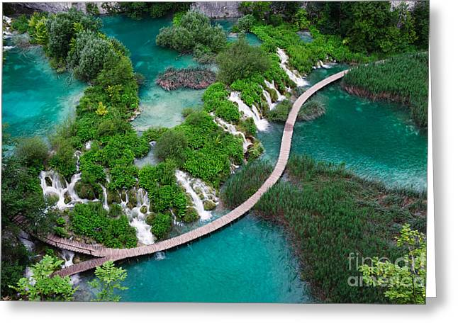 Waterfalls In Plitvice National Park Greeting Card