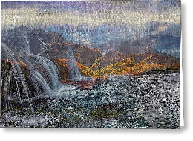 Waterfalls In The Mountains Greeting Card