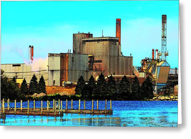Waterfront Factory Greeting Card