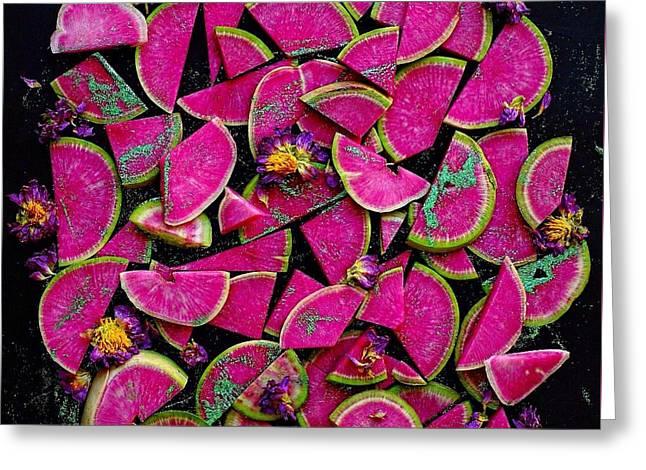 Watermelon Radish Edges Greeting Card