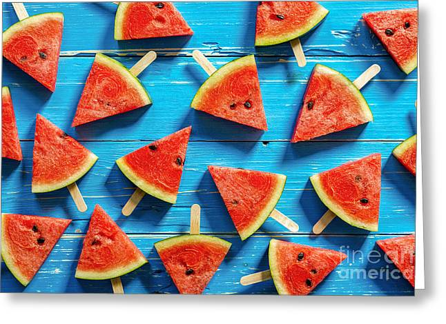 Watermelon Slice Popsicles On A Blue Greeting Card