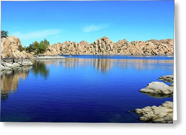 Watson Lake And Rock Formations Greeting Card