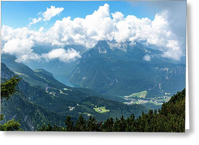 Greeting Card featuring the photograph Watzmann And Koenigssee, Bavaria by Andreas Levi