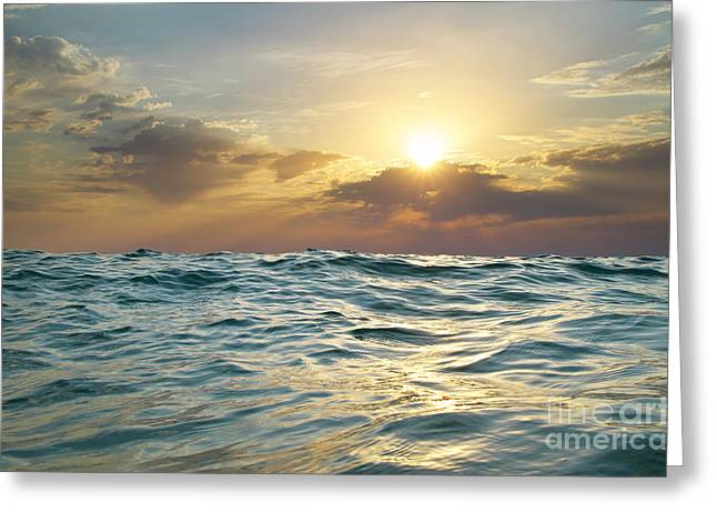 Wave On Sunset. Nature Composition Greeting Card by Djgis