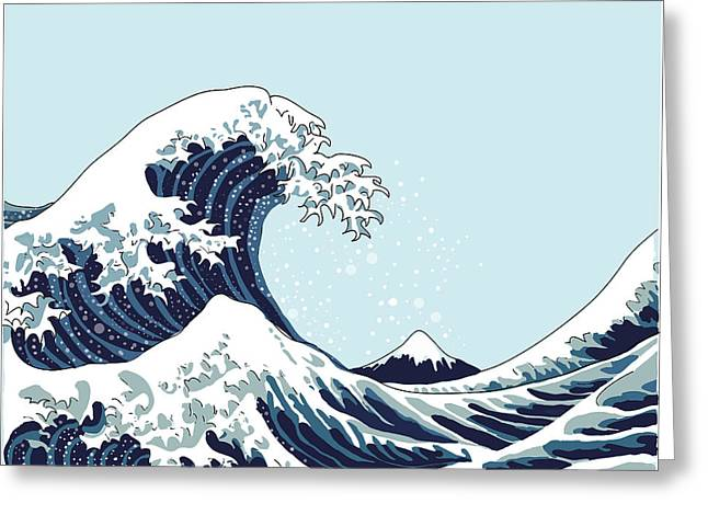 Wave Vector Illustration Japanese Greeting Card