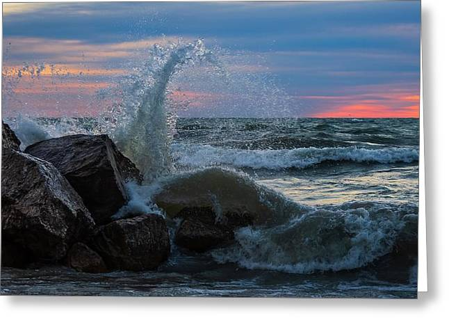 Wave Vs Rock Greeting Card