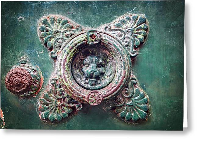 Weathered Door Knocker Toulouse France  Greeting Card