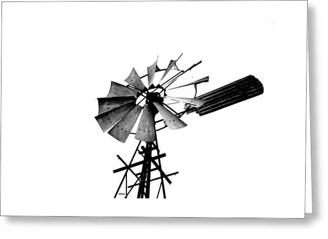 Weathered Windmill - B-w Greeting Card