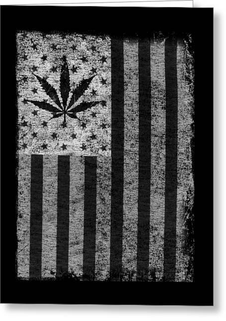 Greeting Card featuring the digital art Weed Leaf American Flag Us by Flippin Sweet Gear