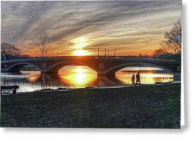 Greeting Card featuring the photograph Weeks Bridge At Sunset by Wayne Marshall Chase