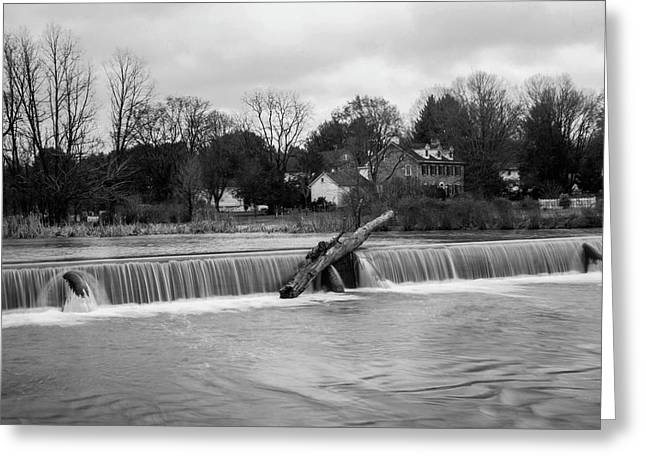 Wehr's Dam - Black And White Greeting Card