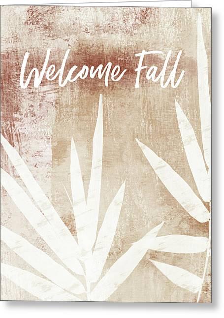 Welcome Fall Leaf- Art By Linda Woods Greeting Card