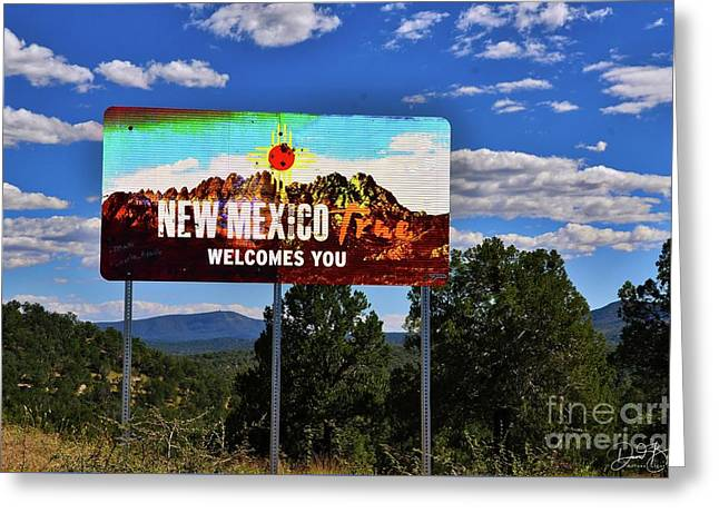Welcome To New Mexico Greeting Card by David Burks