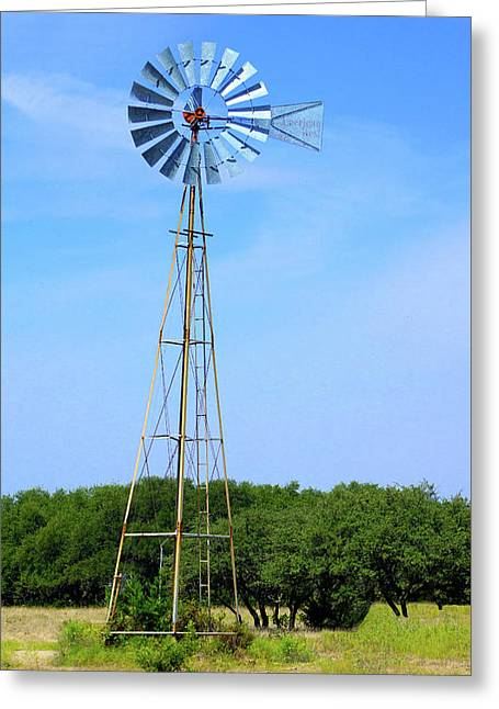 Greeting Card featuring the photograph West Texas Windmill A9718 by Mas Art Studio