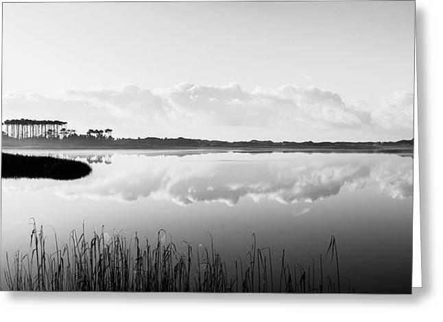 Western Lake Misty Morning Panorama Black $ White Greeting Card