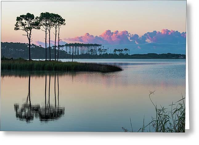 Western Lake Sunrise Greeting Card