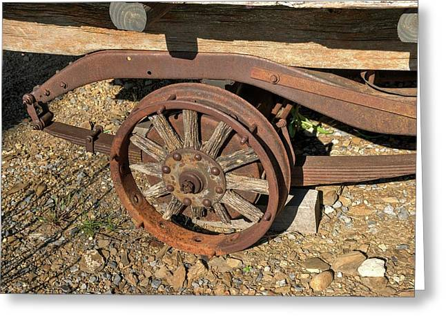 Wheel With Wooden Spokes On Antique Truck Greeting Card