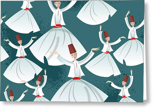 Whirling Dervishes. Seamless Background Greeting Card