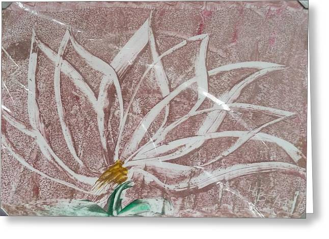 White Abstract Floral On Silverpastel Pink Greeting Card