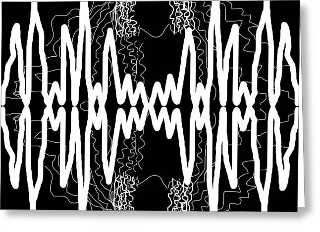 White And Black Frequency Mirror Greeting Card