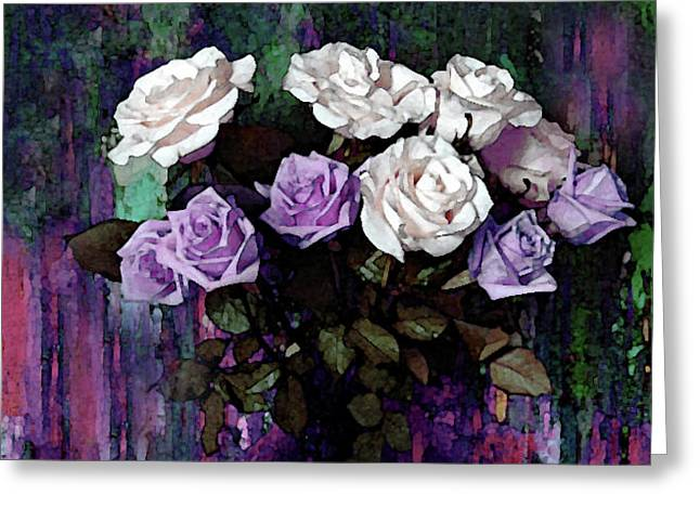 White And Lavender Rose Bouquet Greeting Card