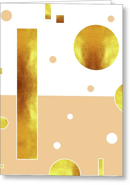 White, Beige And Gold Abstract - Minimal Abstract - Geometric Pattern - Modern Wall Decor Greeting Card