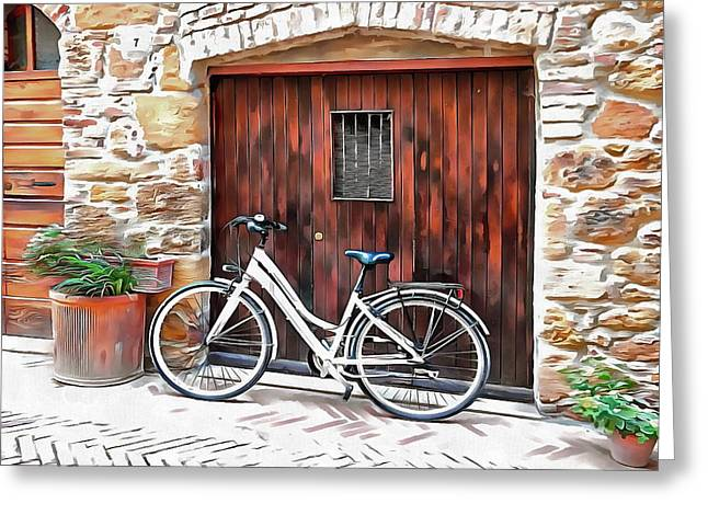 Greeting Card featuring the photograph White Bicycle Pienza by Dorothy Berry-Lound