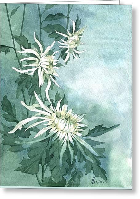 White Chrysanthemums Flowers Greeting Card