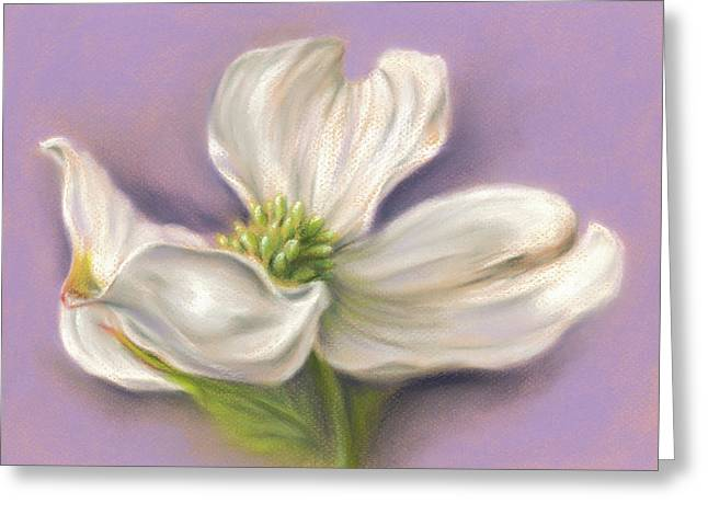 Greeting Card featuring the pastel White Dogwood On Purple by MM Anderson