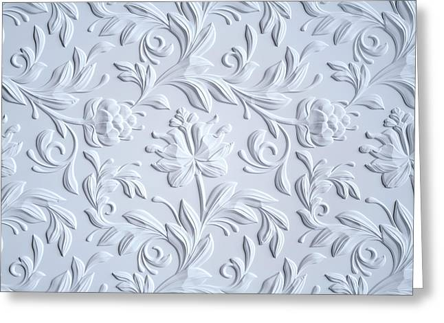 White Embossed Flowers Pattern Greeting Card by Wacomka