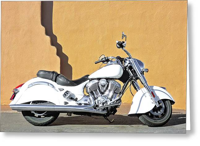 White Indian Motorcycle Greeting Card