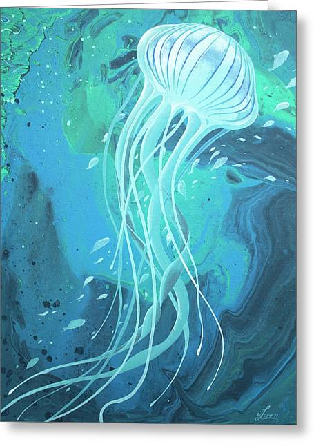 White Jellyfish Greeting Card