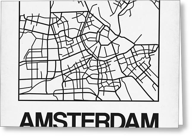 White Map Of Amsterdam Greeting Card