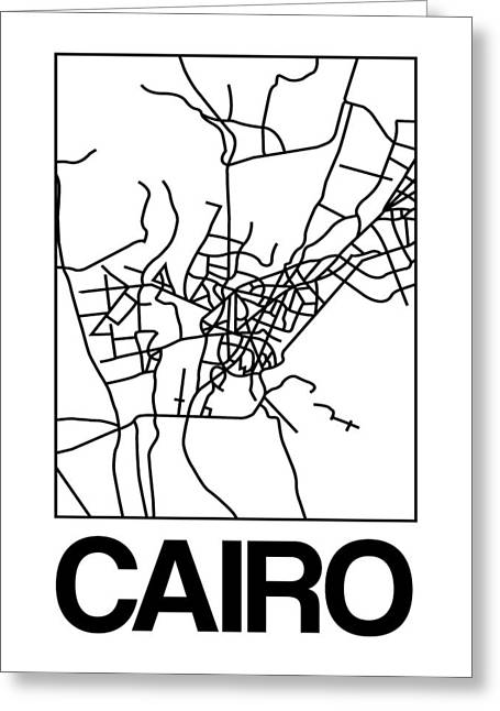 White Map Of Cairo Greeting Card