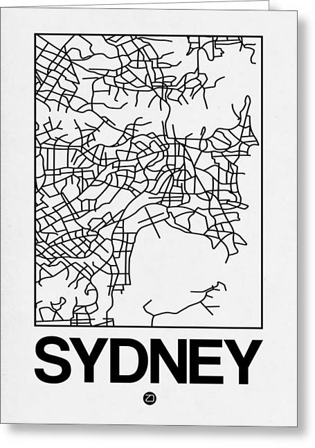 White Map Of Sydney Greeting Card