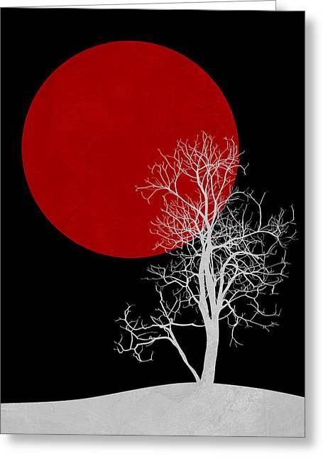 White Night Tree Greeting Card