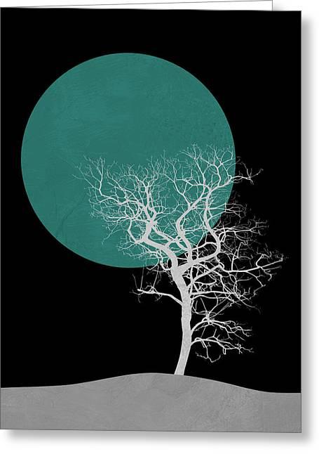 White Tree And Big Moon Greeting Card