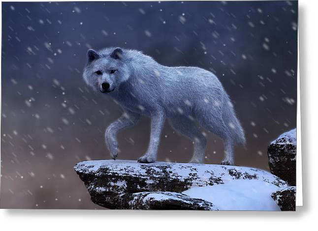 White Wolf In A Blizzard Greeting Card
