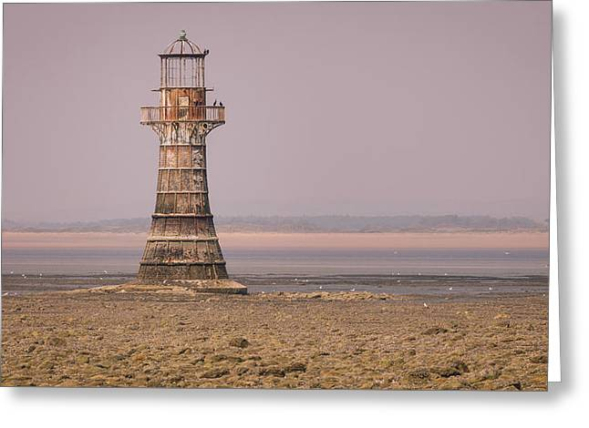 Whiteford Point Lighthouse In Pink Greeting Card