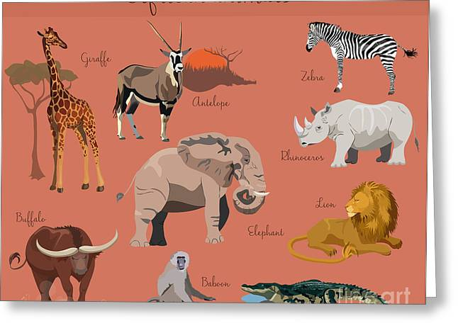 Wild African Animals Set With Nature Greeting Card