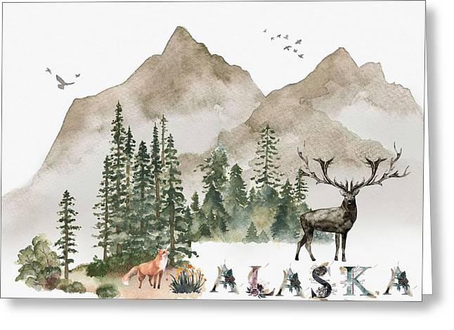 Wild Alaska Travel Poster Greeting Card