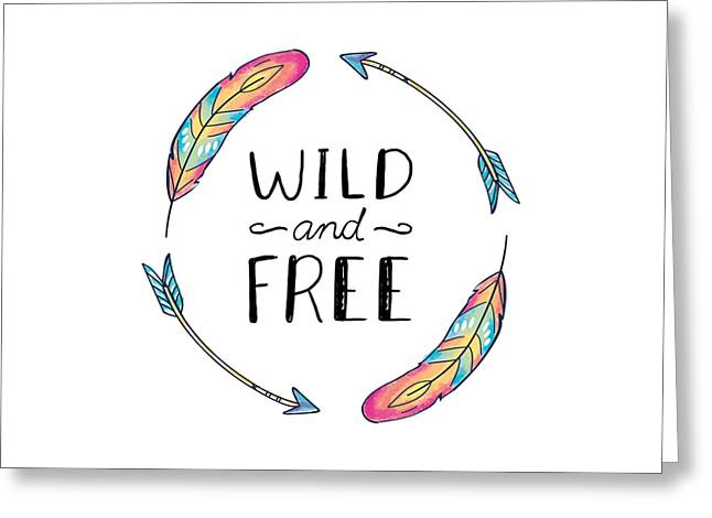 Wild And Free Colorful Feathers - Boho Chic Ethnic Nursery Art Poster Print Greeting Card