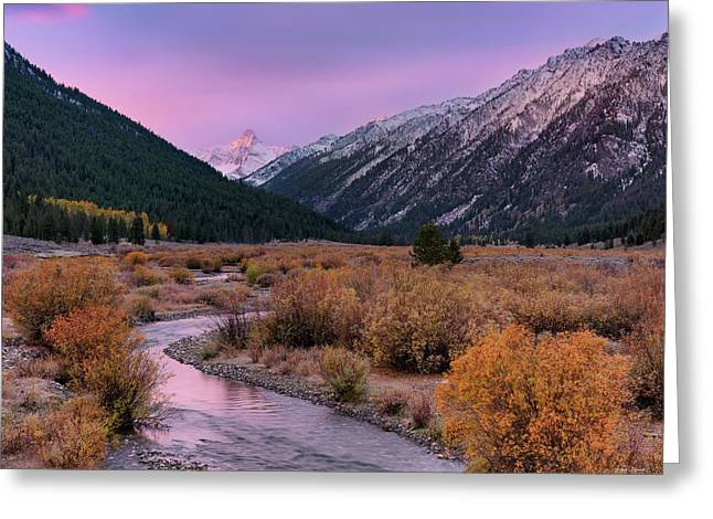 Wildhorse Creek Autumn Sunrise Greeting Card by Leland D Howard