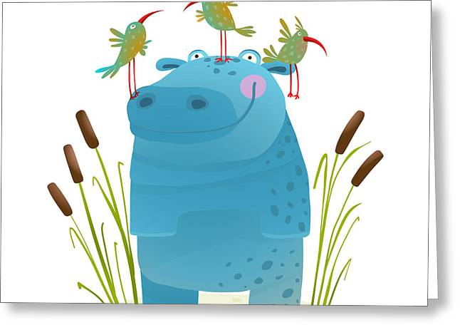 Wildlife Hippo With Cute Birds Smiling Greeting Card