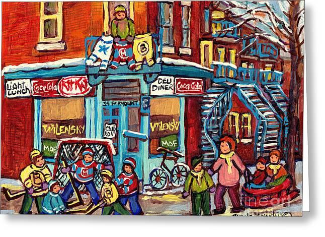 Wilensky's Winter Scenes Montreal Street Hockey Art C Spandau Quebec Snowscene Painting Canadian Art  Greeting Card