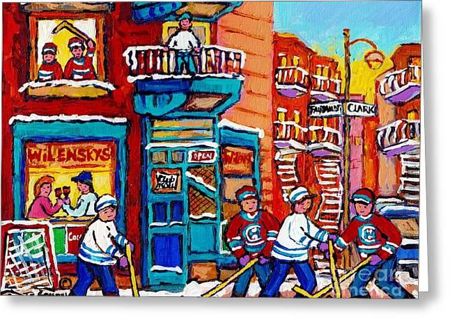 Wilensky Winter Wonderland Fairmount And Clark Street Hockey Scene Montreal Paintings C Spandau      Greeting Card