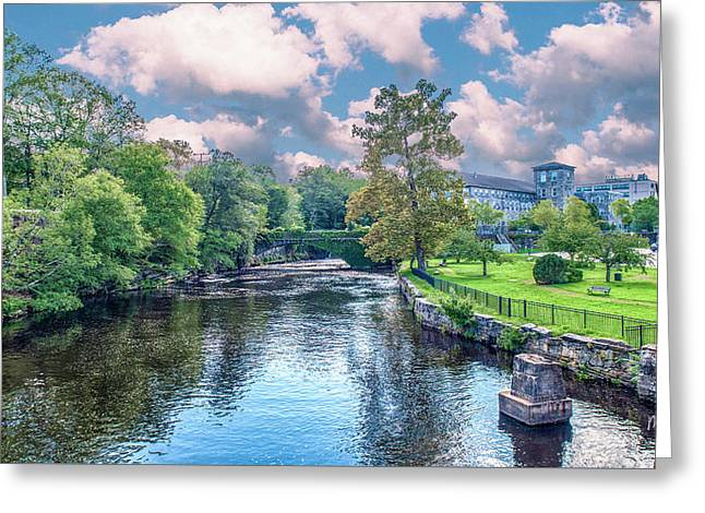 Willimantic River With Clouds Greeting Card