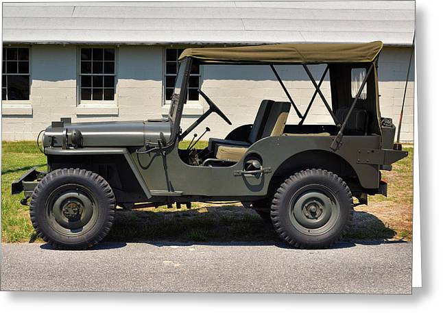 Greeting Card featuring the photograph Willys Jeep Usa With Canopy At Fort Miles by Bill Swartwout Fine Art Photography
